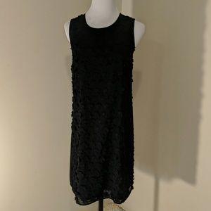 CeCe black floral shift dress sleeveless XS